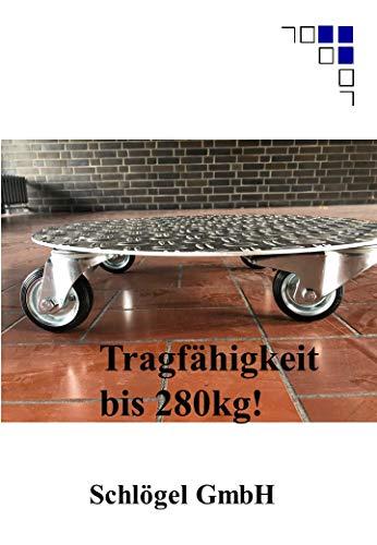 Pflanzenroller rund bis 280kg Metall Blumenroller Untersetzer Indoor Outdoor Alu (2,5/4 Aluminium Riffelblech, Ø600mm)