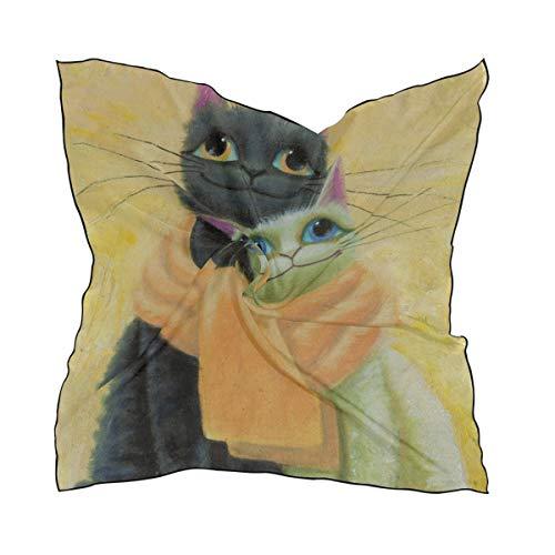 Bufanda de seda de poliéster suave para mujer, 35'x35' grande Cuadrado Impreso original Pintura sobre lienzo Bufanda de seda blanca negra
