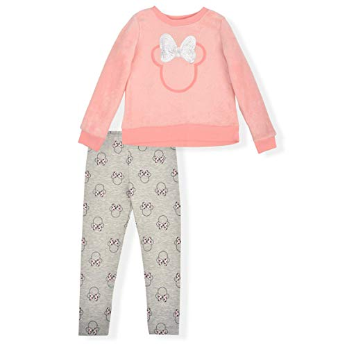 Disney Girl's 2-Piece Minnie Mouse Legging Pants Set with Sequined Pullover Long Sleeve Shirt, Peach/Grey, Size 6
