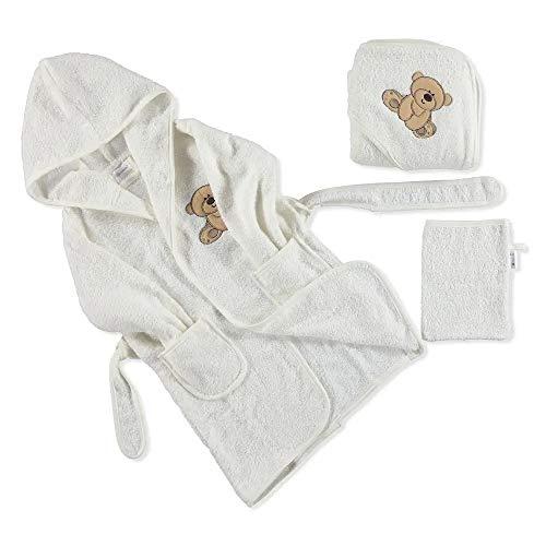 Baby-Bademantel-Set, 100{a7adc18b5edf2c390b0ddc7b60f315583afb702f50405ad072b39ea49bf15cc7} Baumwolle, 3-teilig, für 0–4 Jahre (Weiß)