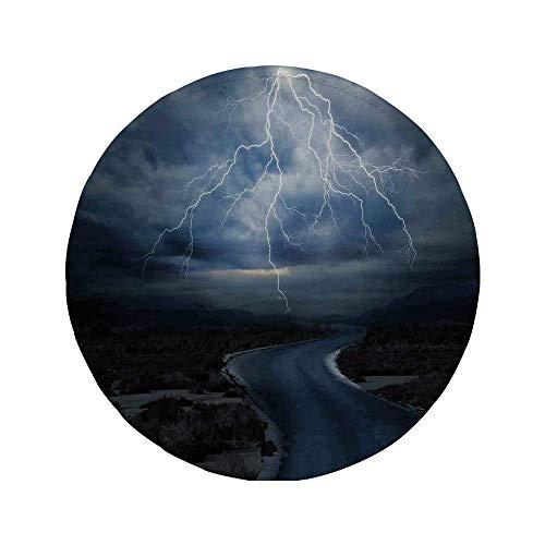 Rutschfreies Gummi-rundes Mauspad Lake House-Dekor Gewitter über der Straße Lebendiger starker Strahl bevor der Himmel weht Wetterbild Dunkelblau-Grau 7.9