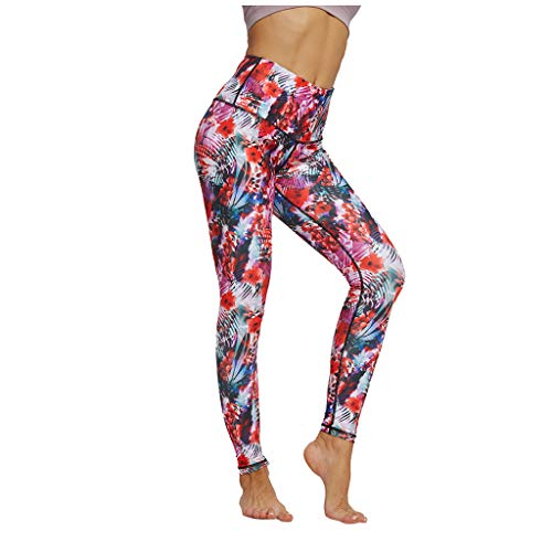 Lowest Prices! Women's Cycling Tights, Active Women's Athletic Fashion Seasonal Printed Capri Length Yoga Leggings(Red,S)