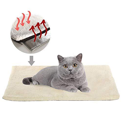 Katzendecken Haustierdecke, selbstheizend, waschbar, weiche Wolldecke, selbstwärmend, Haustierfreundlich, Weiß (89 * 61)