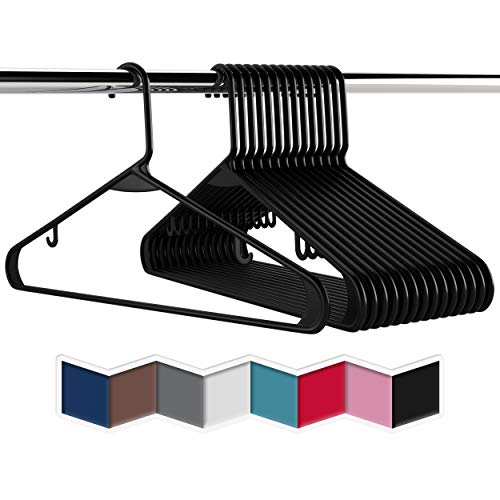 Plastic Clothes Hangers 20 40 60 Packs Heavy Duty Durable Coat and Clothes Hangers  Vibrant Colors Adult Hangers  Lightweight Space Saving Laundry Hangers 60 Pack - Black
