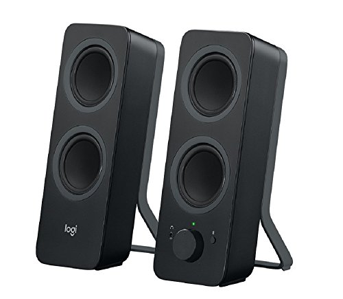 Logitech Z207 Wireless Bluetooth PC Speakers, Stereo Sound, 10 Watts Peak Power, 3.5mm Audio Input, Headphone Jack, Multi Device, Easy Switch, UK Plug, Computer/TV/Smartphone/Tablet - Black