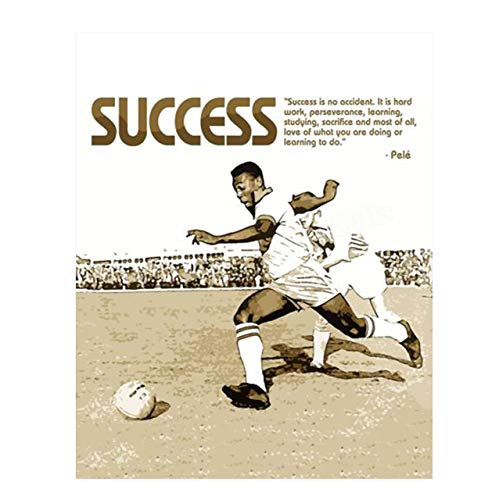 """Pele' Quotes Wall Decor-""""Success Is No Accident""""-Motivational Wall Art- 8 x 10"""" Poster Print-Ready to Frame. Ideal for Home, School, Gym & Locker Room Décor. Inspire & Encourage Your Team & Players."""
