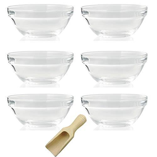 Viva Haushaltswaren - 6 x Mini-Schüssel aus Glas (Ø 7,5 cm), als Glasschälchen sowie als Dipschale, Dessertschale, Tapasschale geeignet (inkl. kleiner Holzschaufel 7,5 cm)