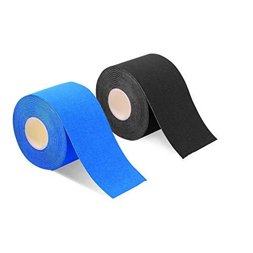 2巻入 テーピングテープ キネシオ テープ 筋肉・関節をサポート 伸縮性強い 汗に強い パフォーマンスを高める 5cm x 5m (黒/��い)