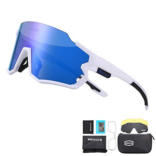 BRZSACR Polarisierte Sport-Sonnenbrille mit austauschbaren Lenes für Männer Frauen Radfahren Laufen Fahren Angeln Golf Baseball Brillen (3-Farben-Wechselobjektiv) (Weiße Blau)