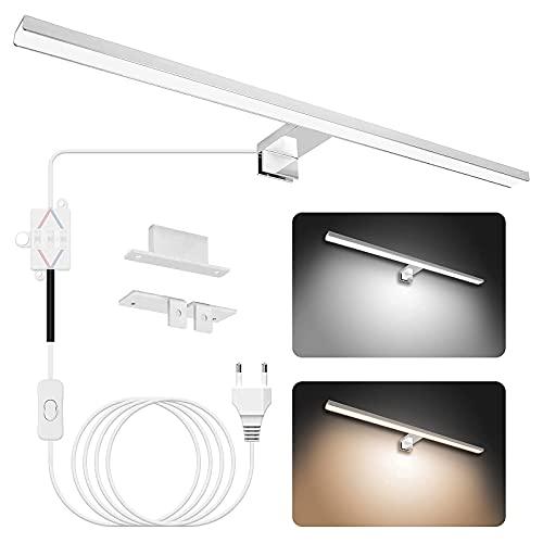 APONUO Espejo de luz 60cm, Lámpara de Baño LED Espejo de luz 15W | 4000K | 6000K | 1500lm | IP44 | Iluminación de Armario de luz de Espejo de Maquillaje de Acero Inoxidable de 600 mm con Interruptor