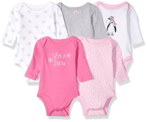 Hudson Baby Unisex Baby Cotton Long-Sleeve Bodysuits, Pink Penguin, 0-3 Months