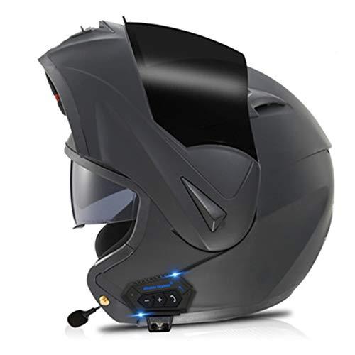 Casco Moto Abatible,Integral Casco Moto Modular Bluetooth,Cascos de Touring con Doble Visera,DOT Certificación Unisexo Scooter Cascos de Moto con micrófono para contestar automático F,M=57~58cm