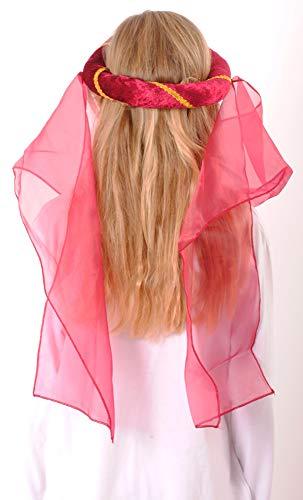 Mittelalter Haarband Helena für Mädchen Burgunderrot Gold - 2