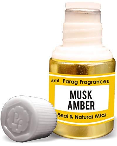 Parag Fragrances Musk Amber Attar Attar 5 ml (acide sans alcool longue durée pour homme ou utilisation religieuse) traditionnelle Bhapka Processed Attar / Fabriqué en Inde.
