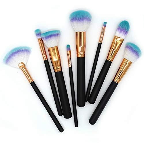 Rainbow Hair Fantasy Makeup Brushes Set Classic Handle Black Makeup Brushes Eye Shadow Lip Dust Comb Outil Kabuki Brush 8Pcs