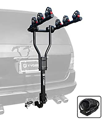 "Tyger Auto TG-RK3B101S 3-Bike Hitch Mount Bicycle Carrier Rack | Free Hitch Lock & Cable Lock | Compatible with Both 1.25"" and 2"" Hitch Receiver"