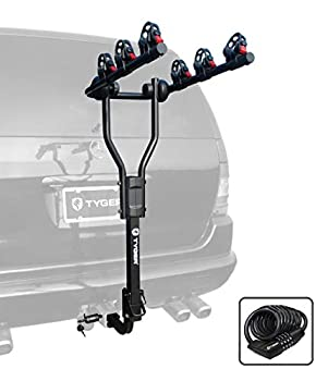 Tyger Auto TG-RK3B101S 3-Bike Hitch Mount Bicycle Carrier Rack | Free Hitch Lock & Cable Lock | Compatible with Both 1.25  and 2  Hitch Receiver
