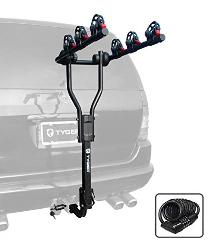 Tyger Auto TG-RK3B101S 3-Bike Hitch Mount Bicycle Carrier Rack | Free Hitch Lock & Cable Lock | Fits Both 1.25' and 2' Hitch Receiver