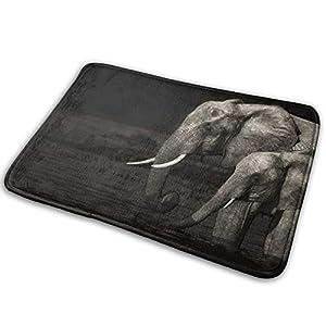 Cute Elephants Non Slip Bathroom Mat, Flannel Bath Rug Water Absorption Memory Foam Carpet, Floor Dirt Mats for Kitchen Hall Inside Outdoor 15.7 X 23.5 in