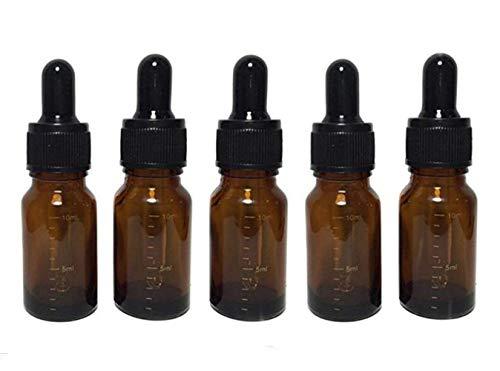 Flacons à remplir de 10 ml en verre gradué pour huiles essentielles et compte-gouttes à bouchon noir pour huiles essentielles et aromathérapie (boîte de 6).