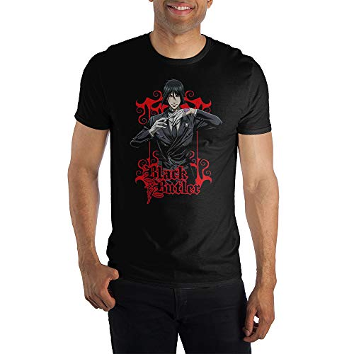 Black Butler Sebastian Michaelis Anime Men's Black T-Shirt Tee Shirt-Medium