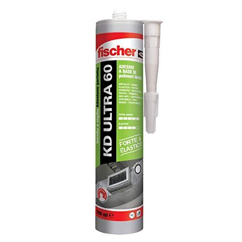 Fischer KD ULTRA 60 bianco, Sigillante Extra forte colla ad alto potere adesivo e buona elasticità, 545169