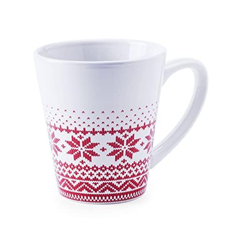 Taza de Café Navideña - Vaso de Cerámica de 350 ml - Color Blanco y Rojo