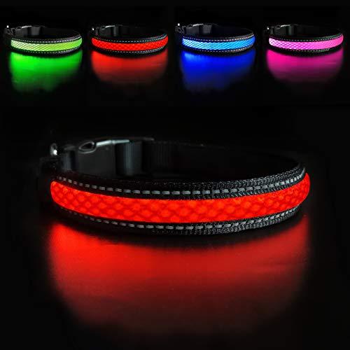 MASBRILL Collar Luminoso Perro de Mascota, 3 Modos Collar Perro Luz con Recargable y Impermeable, Ajustable Collares Destello LED para Perros Pequeños/Medianos/Grandes(Rojo M) 🔥