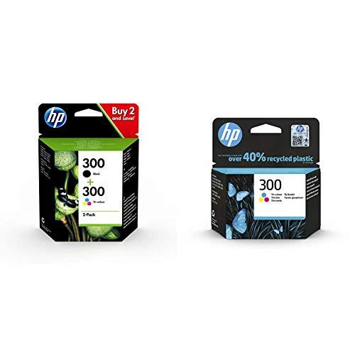 HP 300 CN637EE, Pack de 2, Cartuchos de Tinta Originales Negro y Tricolor, Compatible con impresoras de inyección de Tinta DeskJet + 300 CC643EE,Cartucho de Tinta Original Tricolor