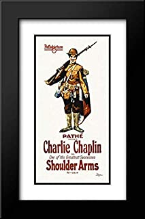 Charlie Chaplin - Shoulder Arms, 1918 16x24 Black Modern Frame and Double Matted Art Print by Hollywood Photo Archive