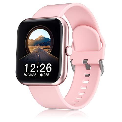 SmartWatch - Reloj inteligente de actividad física para hombre y mujer, con Bluetooth, pulsómetro, impermeable IP67, reloj deportivo con calorías, rastreador de actividad, para Android iOS y rosa
