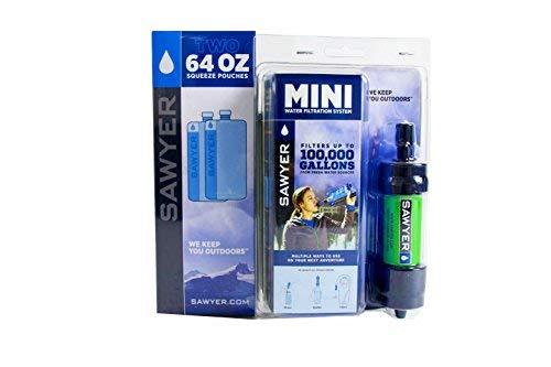 Sawyer Mini Wasserfilter Outdoor Wasseraufbereiter Trinkwasser Sparset mit 2 x 2l Trinkbeutel
