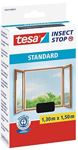 tesa® Insect Stop STANDARD Fliegengitter für Fenster - Insektenschutz zuschneidbar - Mückenschutz ohne Bohren - Fliegen Netz anthrazit, 130 cm x 150 cm