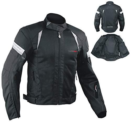 A-Pro - Giacca estiva da motociclisti, in tessuto mesh, con protezioni, colore: nero, L
