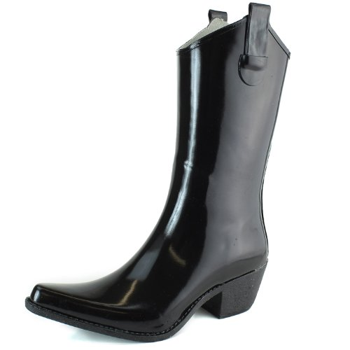 DailyShoes Cowboy Black Solid Prints High Heel Rain Boots,7 B(M) US