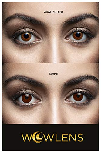 WOWLENS Sehr stark deckende und natürliche braune Kontaktlinsen farbig MILANO BROWN + Behälter I 1 Paar (2 Stück) I DIA 14.00 I 0.00 Dioptrien I ohne Stärke