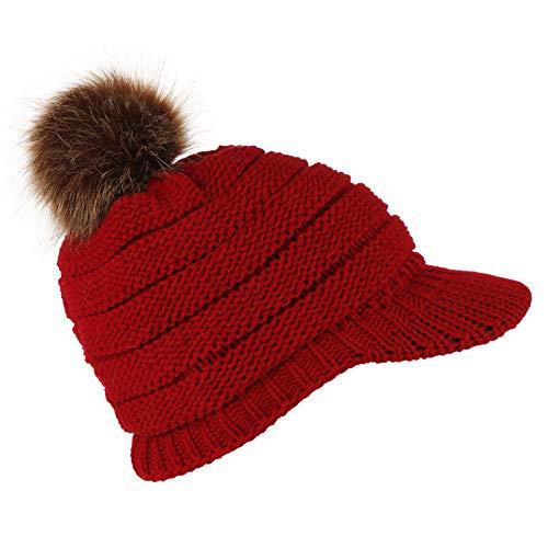 RANTA 2020 Sales Damen Strickmütze WinterMütze Winter, Warm Visor Mädchen,Fleece-Innenfutter-Slouch-Beanie mit Schirm Unisex Leatherpatch Long Beanie Strickmütze