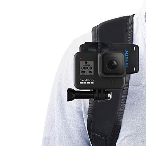 AFAITH Glaube 360 ° Drehbare Rucksackhalterung Schnellwechselklemme Ständer Huthalterung für GoPro Hero 4 5 6 7 8 9 Black Hero 2018 Session Fusion Xiaomi YI SJCAM DJI OSMO Action