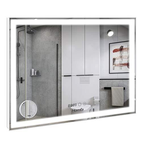 Homfa 80x60cm Espejo Baño Antivaho Espejo de Pared Espejo Colgante Salón con Luz LED Interruptor Táctil 3 Temperatura de Color Ajustable