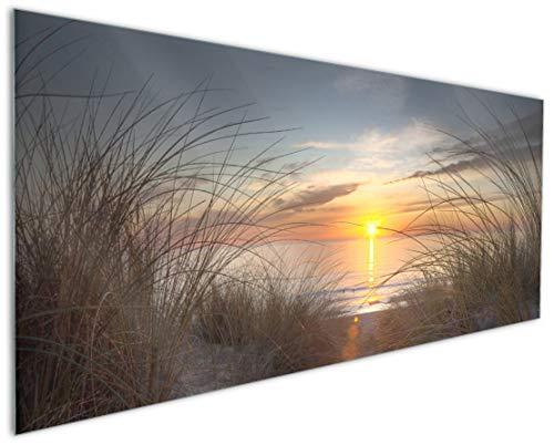 Wallario Küchenrückwand aus Glas, in Premium Qualität, Motiv: Sonnenuntergang am Strand | Spritzschutz | abwischbar | pflegeleicht