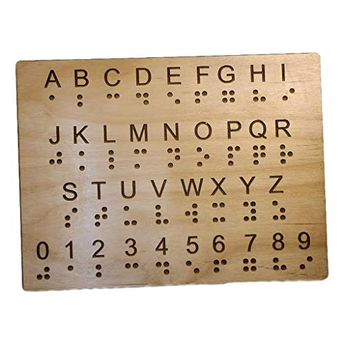 Braille Alphabet and Number Wood Panel - Learning Braille for The Sighted - Montessori Toy - Teaching Aid - Escape Room Prop