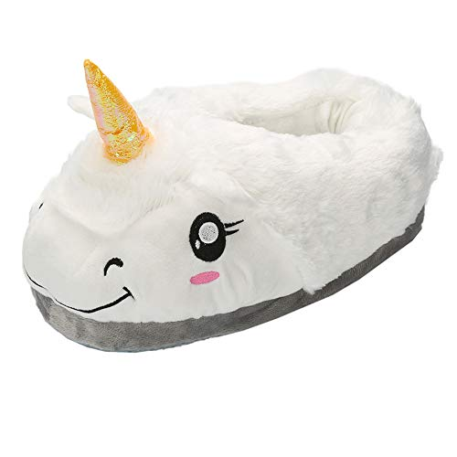 Pantofole Unicorno Unisex-adulto Ciabatte Invernali Peluche Animali Halloween Cosplay Magico Taglia Regali di Festa (Bianco)