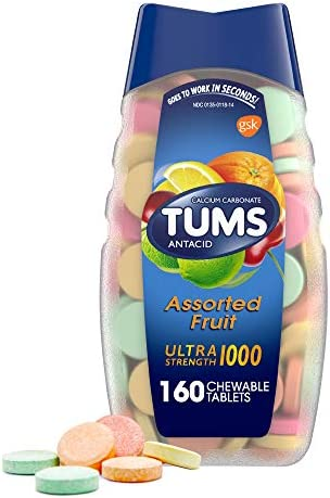 TUMS Ultra Strength Antacid Tablets for Chewable Heartburn Relief and Acid Indigestion Relief, Assorted Fruit, 160 Count (Pack of 1)