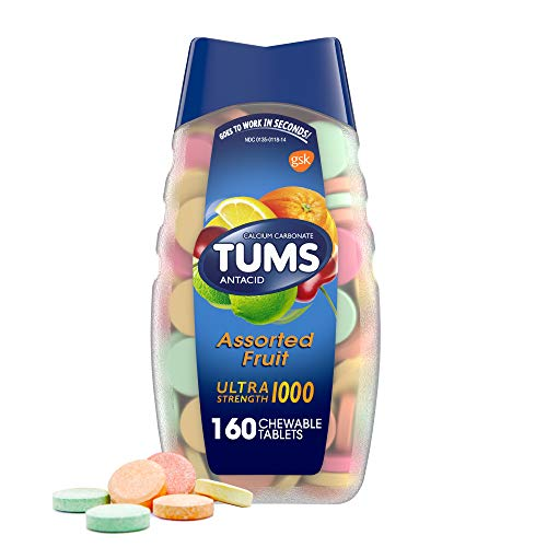 TUMS Ultra Strength Antacid Tablets for Chewable Heartburn Relief and Acid Indigestion Relief Assorted Fruit 160 Count Pack of 1