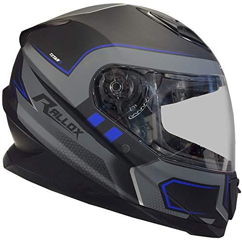 Rallox Helmets Integralhelm 510-3 schwarz/blau RALLOX Motorrad Roller Sturz Helm (XS, S, M, L, XL) Größe XL