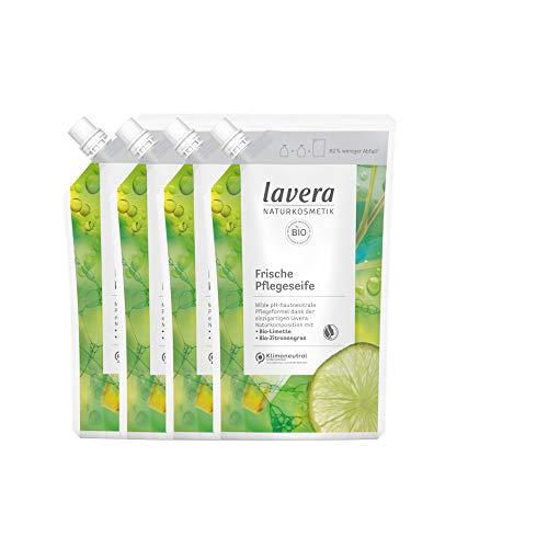 lavera Nachfüllbeutel Frische Pflegeseife/Flüssigseife mit Bio-Limette & Bio-Zitronengras 4x500ml