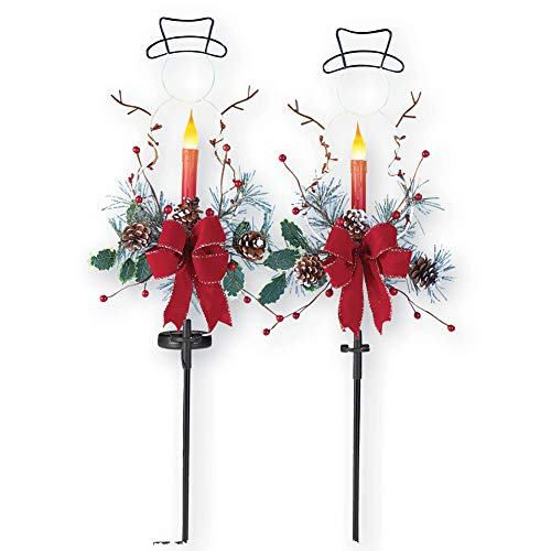Solar Light Christmas Stake Candle in Snowman Shape with Floral Accents