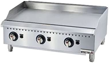 Winco GGD-36M, 36-Inch Spectrum Countertop Stainless Steel Gas Griddle With 3 Cooking Zones