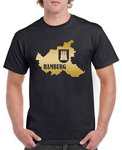 Comedy Shirts - Hamburg Landkarte mit Wappen - Herren T-Shirt - Schwarz/Gold Gr. XL