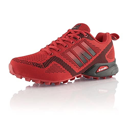 Fusskleidung® Damen Herren Laufschuhe atmungsaktive Runners leichte Trekkingschuhe Rot EU 42